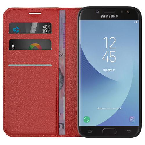 Leather Wallet Case & Card Pouch for Samsung Galaxy J5 Pro - Red